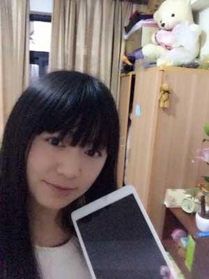 萌妹子在快乐赚幸运大抽奖抽到ipad mini一台!
